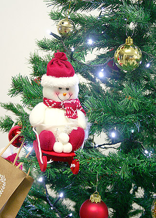 Bonhomme de neige suspension sapin de Noël