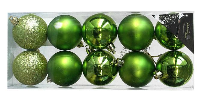 decoration de noel verte Le Pack 10 Boules de Noel Tendance Assorties   Noel. decoration de noel verte