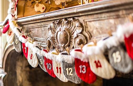 Guirlande Calendrier de l'Avent Cheminée Noel