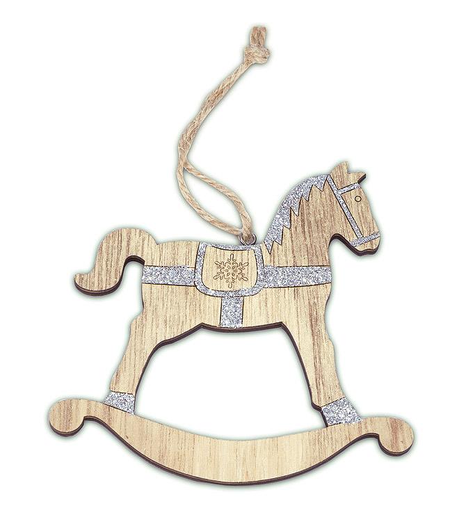 cheval bascule bois paillettes argent noel. Black Bedroom Furniture Sets. Home Design Ideas