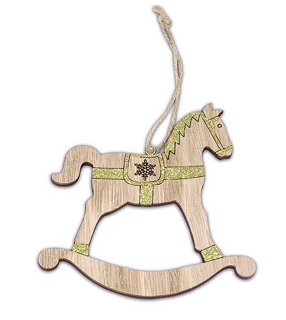 cheval bascule bois paillettes dor es noel. Black Bedroom Furniture Sets. Home Design Ideas