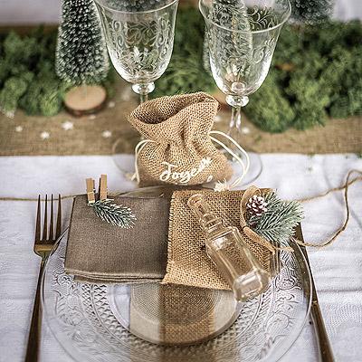 Déco Serviette Table Noël Branche Sapin Champêtre