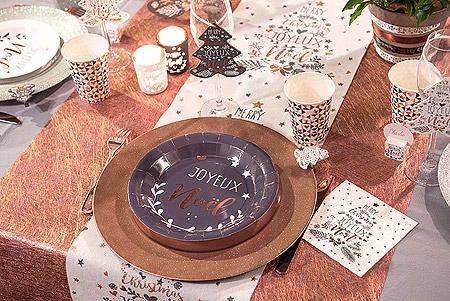 Decoration de Table Noel Blanc Cuivré Doré