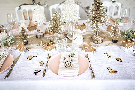 Decoration Table Noel Neige Féerique Bambi