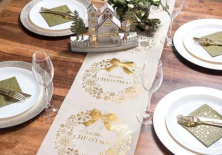 Décoration de Table Noel Merry Christmas Lin Or