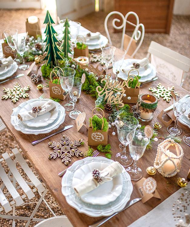 Decoration Table Noel Kraft Vegetal