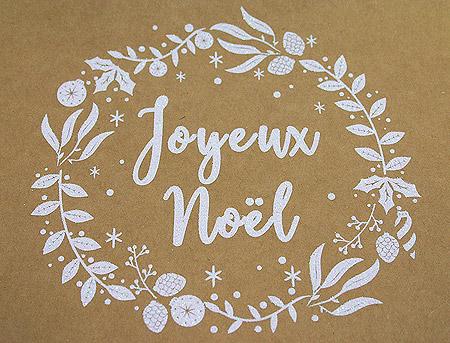 Joyeux Noel Kraft Blanc Irisé