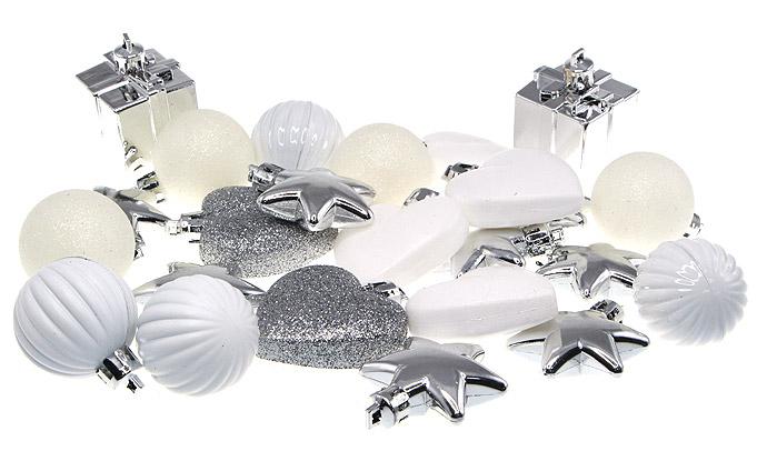 le pack 24 boules coeurs cadeaux et etoiles pour sapin noel. Black Bedroom Furniture Sets. Home Design Ideas
