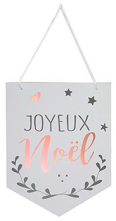 Pancarte Suspension Fanion Blanc Joyeux Noel Pas Cher