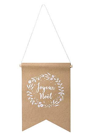 Pancarte Fanion Kraft Joyeux Noel Pas Cher