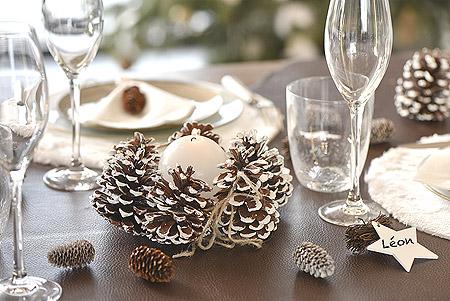 Décoration Noel Table Pomme de Pin Enneigés