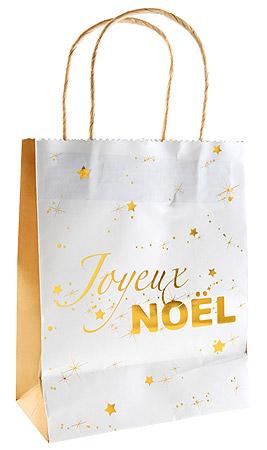 Sac Cadeau Joyeux Noël Doré
