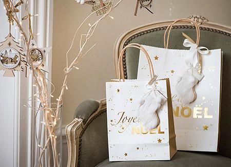Sac Cadeau Noël Blanc Doré