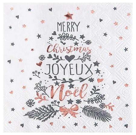 Serviette Cocktail Etoiles et Coeur Joyeux Noël