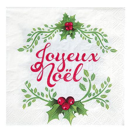 Serviette de table Joyeux Noël Feuilles de Houx