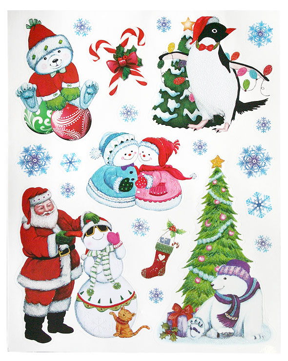 Lot de 4 planches stickers de noel paillet s noel for Sticker fenetre noel